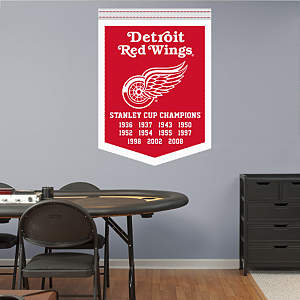 Detroit Red Wings Stanley Cup Champions Banner Fathead Wall Decal